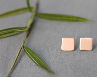 Rose gold stud earrings, Geometric rose gold earrings, simple rose gold square earrings, rose gold studs 18K gold Minimalist Simple Earrings