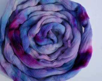 Hand dyed Colombia/Rambouillet combed top, roving