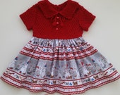 "Baby Girl Christmas dress, Christmas outfit, "" Snowman"",Hand Knit bodice Red dress"