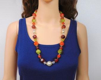 Avocado Beaded Necklace Burnt Orange Bead Necklace Root Beer Bead Necklace Long Vintage Beaded Necklace Jewelry