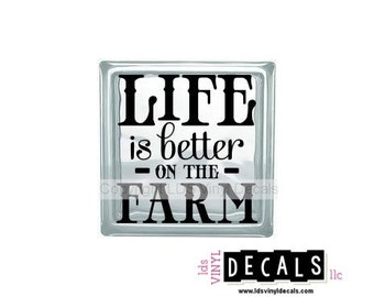 LIFE is better On The FARM - Family Vinyl Lettering for Glass and Wood Blocks - Craft Decals
