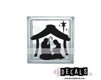 Nativity Scene (Manger) - Christmas Vinyl Lettering for Glass Blocks - Craft Decals - Baby Jesus