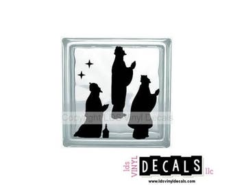 Nativity Scene (Three Wise Men) - Christmas Vinyl Lettering for Glass Blocks - Craft Decals