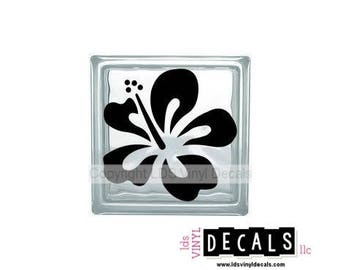 Hibiscus (Flower) - Beach and Summer Vinyl Lettering for Glass Blocks - Craft Decals