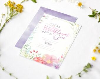Wildflower Birthday Invitation - First Birthday Invitation, floral, boho, spring