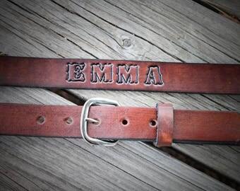 Plain leather belt, Toddler Belt, Name belt, personalized belt, Kid's Belt, Child's Belt, Cowboy Belt,  Name engraved Free!