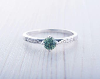 Green Sapphire Solitaire engagement ring  - Available in white gold or sterling silver - handmade ring