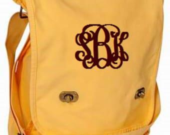Goldenrod Monogrammed Messenger Bag/Personalized Messenger Bag/Canvas Messenger Bag/Womens Messenger Bag/Crossbody Bag