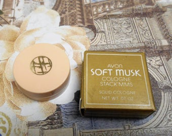 vintage 1987 Avon Soft Musk solid cologne pot, new in box.  Stack'mms, Stackmms, stackable solid perfume.