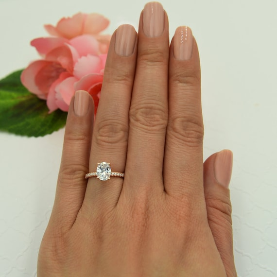 1 25 ctw oval accented solitaire wedding ring bridal ring