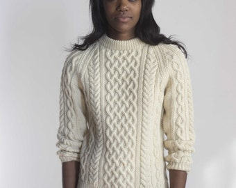 Cream Wool Fisherman Aran Cable Knit Sweater 1970s Vintage // Size XS Small