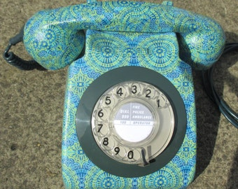 Unique Retro Decoupage Decorated Original Vintage Rotary BT 746 Telephone Teal