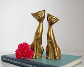 Pair Vintage Brass Cats - Brass Cat Figurines - Vintage Brass Siamese Cat Statues