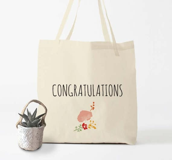 CONGRATULATIONS, Tote Bag, canvas bag, cotton bag, groceries bag, shopper bag, hand bag, gift women, gift coworker.