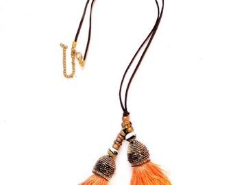 Orange tassel necklace - Bohemian jewelry - Boho chic - Hippie jewelry - Hippie chic - Festival look - Fabric jewelry - Gypsy