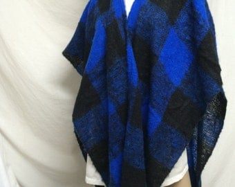 Blue plaid shawl,Enty Japa, blue ,black, plaid, shawl ,wrap