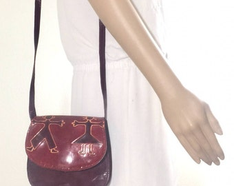 Small Tooled Leather Purse, Bag, Red Leather, Shoulder Bag