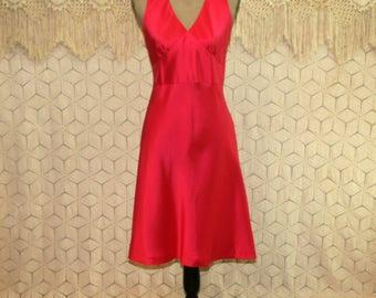 Sleeveless Silk Dress Petite Size 6 Empire Waist Midi Dark Pink Fuchsia Raspberry V Neck Matte Satin Small Medium Ann Taylor Womens Clothing
