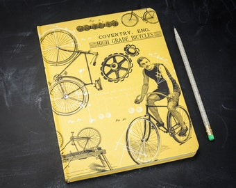 Vintage Bicycle Hardcover Journal   Sketchbook, Notebook, Bullet Journal, Blank & Lined Recycled Gift Physics Teacher Cyclist Traveler
