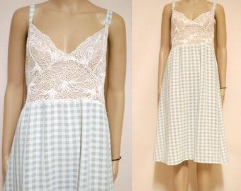 Vintage 70s Sheer Lace Nightie Dress Slip Gingham Pastel Mid Length Lingerie Vtg 1970s Retro Size S-M