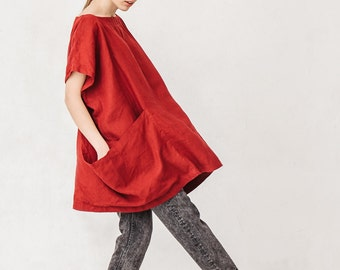 Oversized burgundy red linen tunic, Linen tunic with two big pockets, Tunic, Minimal linen tunic, Linen summer tunic, Stone washed, Linen