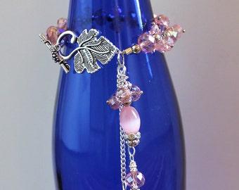 Wine Bottle Jewelry-Pink Glass Beads - Wine Accessory - Wine Bottle Bling, Wine Bottle Necklace-Holiday and Wedding Decor