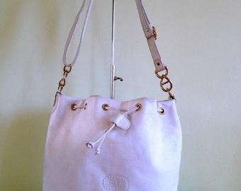 White Leather Bag, Bucket Bag, Drawstring Purse, Crossbody Bag, Shoulder Bag, Leather Messenger, School Bag, Travel Bag, 80s Leather Tote