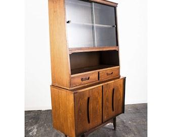 Mid Century Modern China Cabinet Hutch Sideboard Storage Danish Vintage Garrison Furniture Co. Glass Vintage Martinsville FREE SHIPPING
