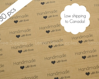 Handmade stickers, handmade with love stickers, kraft handmade stickers, kraft stickers, handmade with love - pack of 30