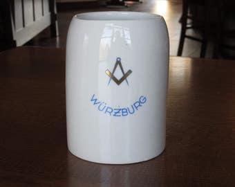 Vintage Masons Beer Stein, Mug, Square and Compass, Wurzburg, Rieber Germany, Masonic Order, Tankard, Gift, Men,Barware,Memorabilia,Souvenir