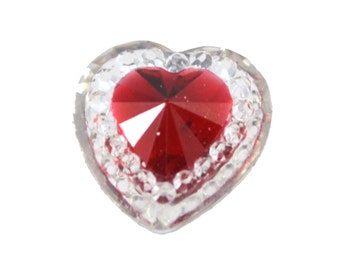 Clear Hearts Colored Resin Cabochons Kitsch Flatbacks Hair Bows Parties
