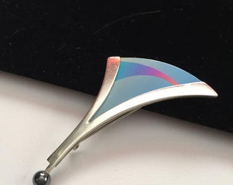 Modernist Sterling Brooch with Hemitite and Titanium