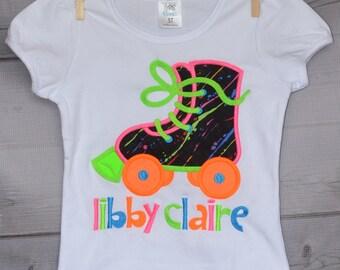 Neon 80's Disco Roller Skate Applique Shirt or Onesie Boy or Girl