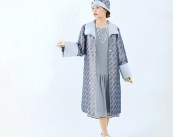 Blue and grey Great Gatsby coat, 1920s blue coat, Miss Fisher coat, Downton Abbey jacket, 1920s flapper jacket, art deco jacket, 20s fashion