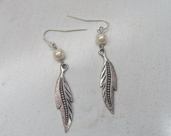 Feather and Pearl Drop Earrings