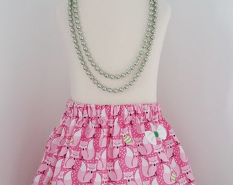 Christmas skirt, Fox,  skirt, pink,  fox clothing, READY to post, kids clothing, uk
