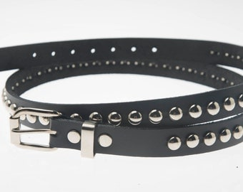 "3/4"" (20mm) wide Genuine Leather Belt with 1 row 3/8"" (10mm) round dome Studs Silver/Chrome Studded Spiked USA NYC"