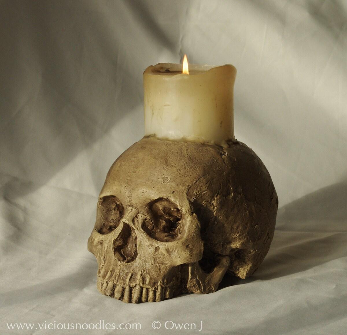 skull candle holder polished bone full size human skull - 🔎zoom