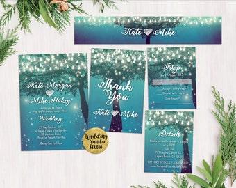 Printed Card - Digital Printable Files - Sweet Night Lights Wedding Invitation RSVP Thank You Invitation Set - ID380