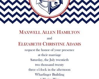 "Anchor Wedding Invitation 5""x7"" Digital Card & RSVP Postcard Style"