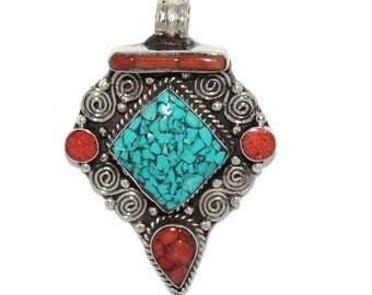 Turquoise Pendant Coral Pendant Silver Pendant Nepal Pendant Nepalese pendant Tibetan Pendant Tibet Pendant Boho pendant gypsy pendant PB271