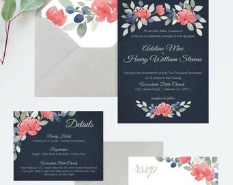 Navy Wedding Invitation Printable - Navy and Rose Watercolor Invitations - Watercolor Wedding Stationery - Navy and Mint Wedding Invitations