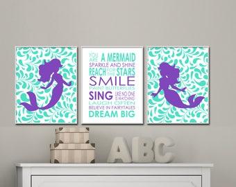 Mermaid Nursery Art Prints.  Girls Nursery Quote Dream Big Little One. Suits Girls Nursery & Bedroom Purple Decor H223