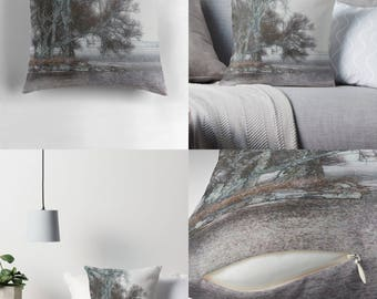 Throw Pillow - Pillow Cover — Jetty of Trees / Contemplative Image of Landscape - Seascape / Spun Polyester