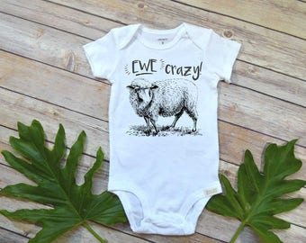 Baby Shower Gift, Ewe Crazy, Farm Baby Clothes, Country Baby Gift, Cute Baby Clothes, Country Shower, Farm Shirt, Farm Baby, Funny Baby Gift