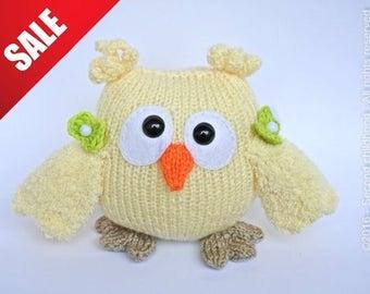 Cute owl, amigurumi plush owl, girl decorative owl, knitted owl sale toys kids toy plush woodland animal in vanilla ready to ship