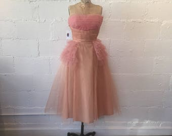 1950s Pink Tulle Cupcake Dress // 50s Pink Prom Formal Dress // 1950s Vintage Pink Tulle Gown