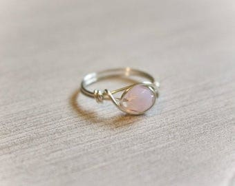 Wire ring, wire wrapped ring, pink stone ring, rose quartz ring, dainty silver ring, silver ring, gold ring, princess ring, simple wire ring
