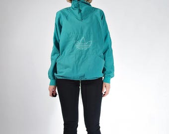 20% OFF SALE - 80s Adidas Oldschool Trefoil Cotton Canvas Boyfriend Fit Half Zip Sweatshirt / Size S/M/L