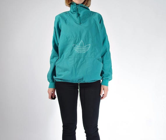 SALE - 80s Adidas Oldschool Trefoil Cotton Canvas Boyfriend Fit Half Zip Sweatshirt / Size S/M/L